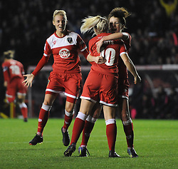 Bristol Academy Womens' Nikki Watts  celebrates her goal with Bristol Academy Womens' Angharad James - Photo mandatory by-line: Dougie Allward/JMP - Mobile: 07966 386802 - 13/11/2014 - SPORT - Football - Bristol - Ashton Gate - Bristol Academy Womens FC v FC Barcelona - Women's Champions League