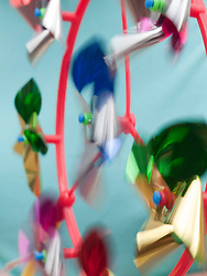 Child's plastic windmill turning in the wind