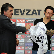 Turkish soccer team Besiktas's new player German Roberto HILBERT (R) poses for media with his new jersey after the signing ceremony in Istanbul, Turkey on 22 June 2010. Besiktas signed a contract with Roberto HILBERT for three years. Photo by TURKPIX