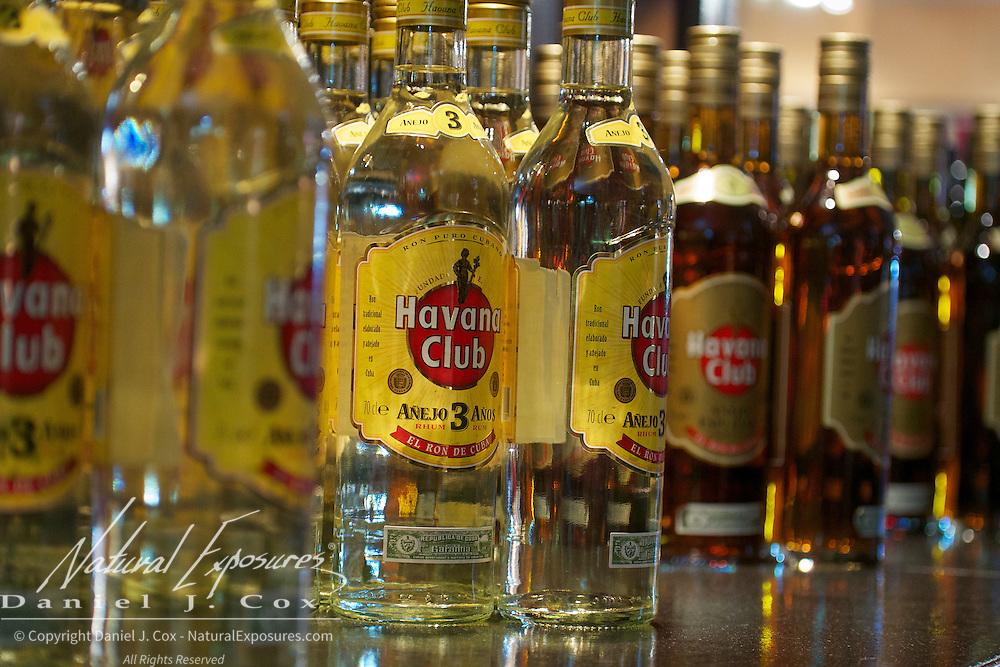 Bottles of Havana Club rum on the shelves of a bar in Havana, Cuba.