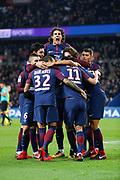 Angel Di Maria (psg) scored the second goal, celebration with Edinson Roberto Paulo Cavani Gomez (psg) (El Matador) (El Botija) (Florestan), Thiago Silva (PSG), Neymar da Silva Santos Junior - Neymar Jr (PSG), Daniel Alves da Silva (PSG), Javier Matias Pastore (psg), Adrien Rabiot (psg), Marco Verratti (psg) during the French Championship Ligue 1 football match between Paris Saint-Germain and FC Nantes on November 18, 2017 at Parc des Princes stadium in Paris, France - Photo Stephane Allaman / ProSportsImages / DPPI