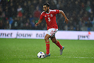 Neil Taylor of Wales in action.Vauxhall International football friendly, Wales v The Netherlands at the Cardiff city stadium in Cardiff, South Wales on Friday 13th November 2015. pic by Andrew Orchard, Andrew Orchard sports photography.