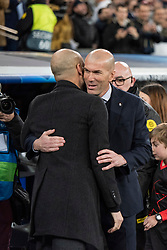 Real Madrid's coach Zidedine Zidane and Manchester City's coach Pep Guardiola during the UEFA Champions League round of 16 first leg match Real Madrid v Manchester City at Santiago Bernabeu stadium on February 26, 2020 in Madrid, Sdpain. Real was defeated 1-2. Photo by David Jar/AlterPhotos/ABACAPRESS.COM