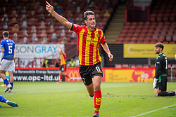 31JUL21 Partick Thistle's Brian Graham cele scoring their second goal. Partick Thistle 3 v 2 Queen of the South. First Scottish Championship game of the season.