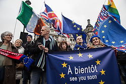 London, UK. 31 January, 2020. Pro-EU activists hold a procession from outside Downing Street to Europe House, the location for the European Commission in London, on the occasion of Brexit Day.