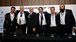 French Rugby Federation president Bernard Laporte (centre left), Sebastien Chabal (right), France 2023 bid president Claude Atcher (second left), Frederic Michalak (second right) and Serge Simon (centre right) with bid team during the 2023 Rugby World Cup host union announcement at The Royal Garden Hotel, Kensington.
