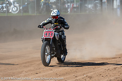 Hooligan Racer Stace Richmond on his Indian in the Spirit of Sturgis races at the fairgrounds during the Sturgis Black Hills Motorcycle Rally. Sturgis, SD, USA. Monday, August 5, 2019. Photography ©2019 Michael Lichter.