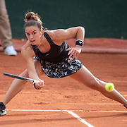 PARIS, FRANCE September 30. Maria Sakkari of Greece in action against Kamilla Rakhimova of Russia in the second round of the singles competition on court nine during the French Open Tennis Tournament at Roland Garros on September 30th 2020 in Paris, France. (Photo by Tim Clayton/Corbis via Getty Images)