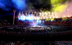 Fireworks are set off as the final performance takes place during the Closing Ceremony for the 2018 Commonwealth Games at the Carrara Stadium in the Gold Coast, Australia.