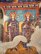Twelfth Century Romanesque frescoes of the Apse d'Estaon. The church of Santa Eulalia d'Estaon, Vall de Cardos, Pollars Sobira, Spain. National Art Museum of Catalonia, Barcelona. MNAC 15969 .<br /> <br /> If you prefer you can also buy from our ALAMY PHOTO LIBRARY  Collection visit : https://www.alamy.com/portfolio/paul-williams-funkystock/romanesque-art-antiquities.html<br /> Type -     MNAC     - into the LOWER SEARCH WITHIN GALLERY box. Refine search by adding background colour, place, subject etc<br /> <br /> Visit our ROMANESQUE ART PHOTO COLLECTION for more   photos  to download or buy as prints https://funkystock.photoshelter.com/gallery-collection/Medieval-Romanesque-Art-Antiquities-Historic-Sites-Pictures-Images-of/C0000uYGQT94tY_Y