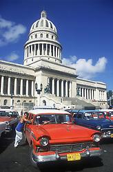 Vintage American car parked outside the Capitolio; Havana; Cuba,