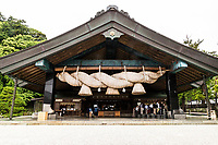 Izumo Taisha Shrine Shimenawa  -  one of Japan's most importantShinto shrines. There are no records of exactly when Izumo Taisha was built but it is often considered to be the oldest shrine in Japan.  The main deity enshrined at Izumo Taisha is Okuninushi-no-Okami who was the creator of Japan and the ruler of Izumo. He also became known as the deity of good relationships and marriages.  Every year, from the 10th to the 17th day of the 10th lunar month which ends up being in November eight million Shinto deities from across the land gather at Izumo Taisha for a their annual meeting, a kind of çonvention of the gods'.