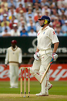 Photo. Glyn Thomas. <br /> England v West Indies. Second Test, nPower Test Series.<br /> Day 2. 30/07/2004.<br /> Andrew Flintoff watches as a hook shot off Jermaine Lawson sails over the boundary rope for six on the way to his century.