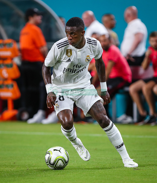 July 31, 2018 - Miami Gardens, Florida, USA - Real Madrid C.F. forward Vinicius Junior (28) in action during an International Champions Cup match between Real Madrid C.F. and Manchester United F.C. at the Hard Rock Stadium in Miami Gardens, Florida. Manchester United F.C. won the game 2-1. (Credit Image: © Mario Houben via ZUMA Wire)
