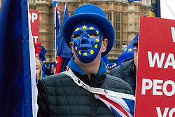 Steve Bray stands firm as Pro-Brexit campaigner James Goddard once again visits and attempts to disrupt Bray's SODEM anti-Brexit protest the day after he was seen harassing former cabinet minister Anna Soubry. Westminster, London, December 20 2018.
