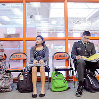 013114       Cable Hoover<br /> <br /> Gallup High School seniors Milo Andablo, right, Tinisha Spencer and Lakiesha Tsosie wait for their turns to be interview for the senior dissertation program at Gallup High School Friday.