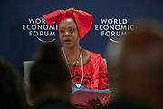 Elsie S. Kanza, Head of regional strategies, Africa; Member of the executive committee World Economic Forum at the press conference held in Johannesurg by The World Economic Forum on the 28th of June 2018. Image by Greg Beadle