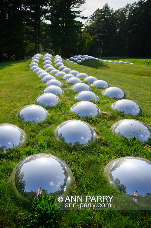 """Roslyn, New York, U.S. July 7, 2019. """"Vertebrate Progression (Field Totem)"""" outdoor sculpture of domed mirrors was created and installed by artist Marko Remec near the Manes Center at the Nassau County Museum of Art, which commissioned the work."""