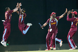 © Licensed to London News Pictures. 07/10/2012. West Indians players celebrate after winning the match during the World T20 Cricket Mens Final match between Sri Lanka Vs West Indies at the R Premadasa International Cricket Stadium, Colombo. Photo credit : Asanka Brendon Ratnayake/LNP