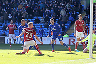 Kenneth Zohore of Cardiff city (l) shoots and scores his teams 1st goal. . EFL Skybet championship match, Cardiff city v Bristol city at the Cardiff city stadium in Cardiff, South Wales on Sunday 25th February 2018.<br /> pic by Andrew Orchard, Andrew Orchard sports photography.