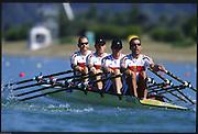 Sydney. AUSTRALIA. 2000 Summer Olympic Regatta, Penrith. NSW.  <br /> <br /> GER M4X. Bow. GEISLER, Marco, 2. HAJEK, Andreas, 3. VOLKERT, Stephan,  Stroke, WILLMS, Andre<br /> <br /> [Mandatory Credit Peter SPURRIER/ Intersport Images] 2000 Olympic Rowing Regatta00085138.tif