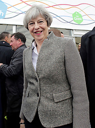 © Licensed to London News Pictures. 13/05/2017. Lisburn, UK. British prime minister THERESA MAY during a visit to Balmoral Show at Balmoral Park in Lisburn, Northern Ireland, while campaigning ahead of a general election which takes place on June 8, 2017.  Photo credit: Kalista McErlane/LNP