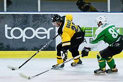 Enes Gorse of HK Slavija vs Mark Podobnik of HK Olimpija during of ice-hockey match between HK Olimpija and HK Slavija in  SLOHOKEJ league, on September 21, 2011 at Hala Tivoli, Ljubljana, Slovenia. (Photo By Matic Klansek Velej / Sportida)