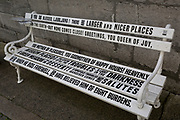 Typeface Storytelling on a bench in krizevniska street  in the Slovenian capital, Ljubljana, on 27th June 2018, in Ljubljana, Slovenia.