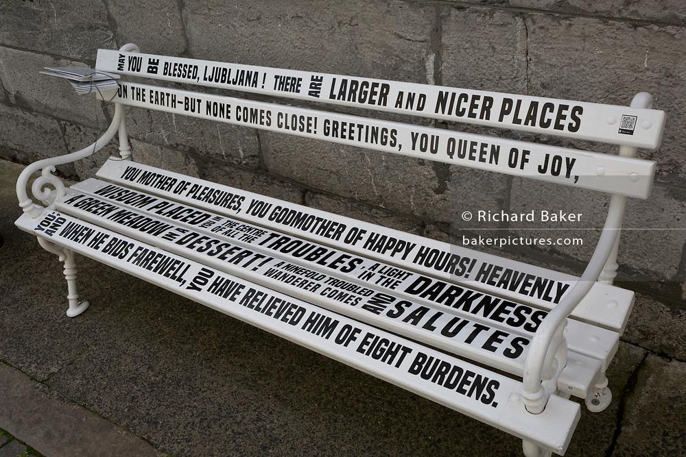 Typeface Storytelling on a bench in krizevniska street  in the Slovenian capital, Ljubljana, on 27th June 2018, in Ljubljana, Slovenia.