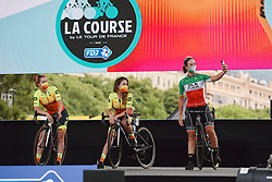 Marta Bastianelli (ITA) takes a selfie at the 2020 La Course By Le Tour with FDJ, a 96 km road race in Nice, France on August 29, 2020. Photo by Sean Robinson/velofocus.com