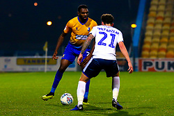 Hayden White of Mansfield Town looks to get past Callum McFadzean of Bury - Mandatory by-line: Ryan Crockett/JMP - 04/12/2018 - FOOTBALL - One Call Stadium - Mansfield, England - Mansfield Town v Bury - Checkatrade Trophy