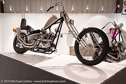 Kyle Brewer's Geezer Pleezer custom 1978 Harley Davidson / Sportster on view in the What's the Skinny Exhibition (2019 iteration of the Motorcycles as Art annual series) at the Sturgis Buffalo Chip during the Sturgis Black Hills Motorcycle Rally. SD, USA. Thursday, August 8, 2019. Photography ©2019 Michael Lichter.