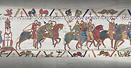 Bayeux Tapestry scene 16: Harold rides with Duke William to fight Conan, Duke of Britany. .<br /> <br /> If you prefer you can also buy from our ALAMY PHOTO LIBRARY  Collection visit : https://www.alamy.com/portfolio/paul-williams-funkystock/bayeux-tapestry-medieval-art.html  if you know the scene number you want enter BXY followed bt the scene no into the SEARCH WITHIN GALLERY box  i.e BYX 22 for scene 22)<br /> <br />  Visit our MEDIEVAL ART PHOTO COLLECTIONS for more   photos  to download or buy as prints https://funkystock.photoshelter.com/gallery-collection/Medieval-Middle-Ages-Art-Artefacts-Antiquities-Pictures-Images-of/C0000YpKXiAHnG2k