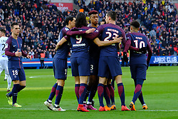February 17, 2018 - Paris, France - joy of the Paris SG team after the opening of the score in the league match of Ligue 1 Paris SG against Strasbourg RC at the Parc des Princes Stadium in Paris - France..Paris SG won 5-2 (Credit Image: © Pierre Stevenin via ZUMA Wire)
