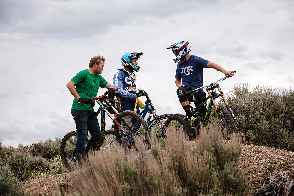 Greg Watts, Mike Montgomery and Chris Akrigg take in the Trailside bike park in Snyderville, Utah.