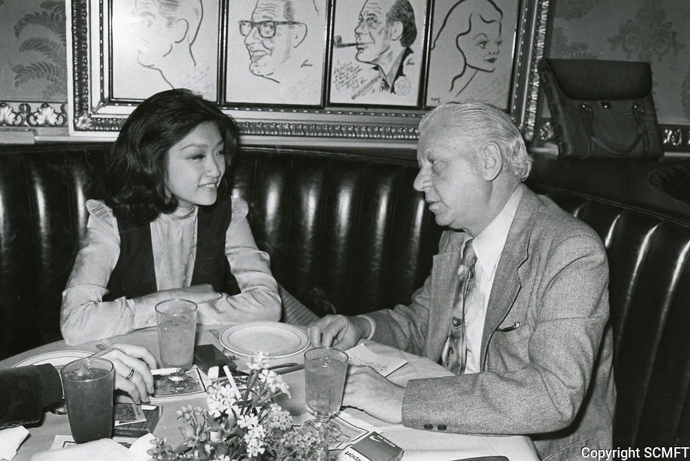 1978 TV commentator, Connie Chung and Jack Kaufman dine at the Brown Derby restaurant on Vine St.