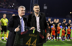 Davor Suker, president of the Croatian Football Federation with Danijel Subasic prior to the UEFA Nations League football match between Croatia and Spain, on November 15, 2018, at the Maksimir Stadium in Zagreb, Croatia. Photo by Morgan Kristan / Sportida