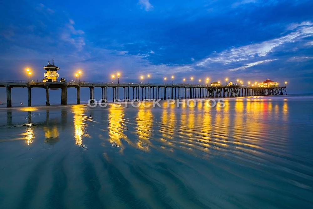 Low Tide at Night at the Huntington Beach Pier