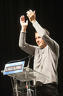 Basque politician Arnaldo Otegi addresses a tribute meeting of thousands of people organized by Sortu pro-indpendence party, four days after he left prison. Donostia (Basque Country). March 5, 2016. Arnaldo Otegi is a politician, member of the Basque patriotic left movement, who was arrested in 2009, acused of trying to rebuild outlawed Batasuna pro-independence party, and was given a ten year sentence. In may 2012 Otegi's sentence was reduced to 6 1/2 years by the Spanish Supreme Court, as they decided he was not part of ETA. (Gari Garaialde / Bostok Photo)