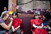 The Republican campain calling for the abolition of the Royal family held their own street party in Red Lion Square in Holborn, London. Lots of children had the republican loge face painted on.