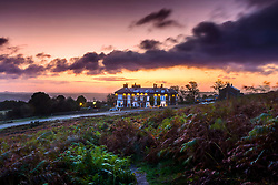 © Licensed to London News Pictures. 10/10/2019. Ilkley UK. Dawn this morning at the Cow & Calf pub high up on Ilkley Moor in Yorkshire as the county braces for more heavy rain with the Met Office issuing a Yellow warning of rain. Photo credit: Andrew McCaren/LNP