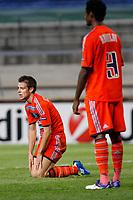 FOOTBALL - UEFA CHAMPIONS LEAGUE 2011/2012 - GROUP STAGE - GROUP F - OLYMPIQUE MARSEILLE v ARSENAL - 19/10/2011 - PHOTO PHILIPPE LAURENSON / DPPI - DESPAIR CESAR AZPILICUETA (OM)