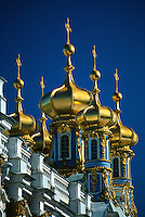 Spires atop the Catherine Palace, Pushkin (16 miles south of St. Petersburg), Russia