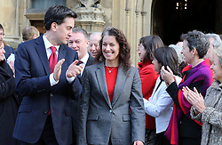 Labour leader Ed Miliband greets Sarah Champion the new MP for Rotherham along with other Labour MP's at Westminster, Monday, 3rd December 2012   Photo by:  Stephen Lock /  i-Images