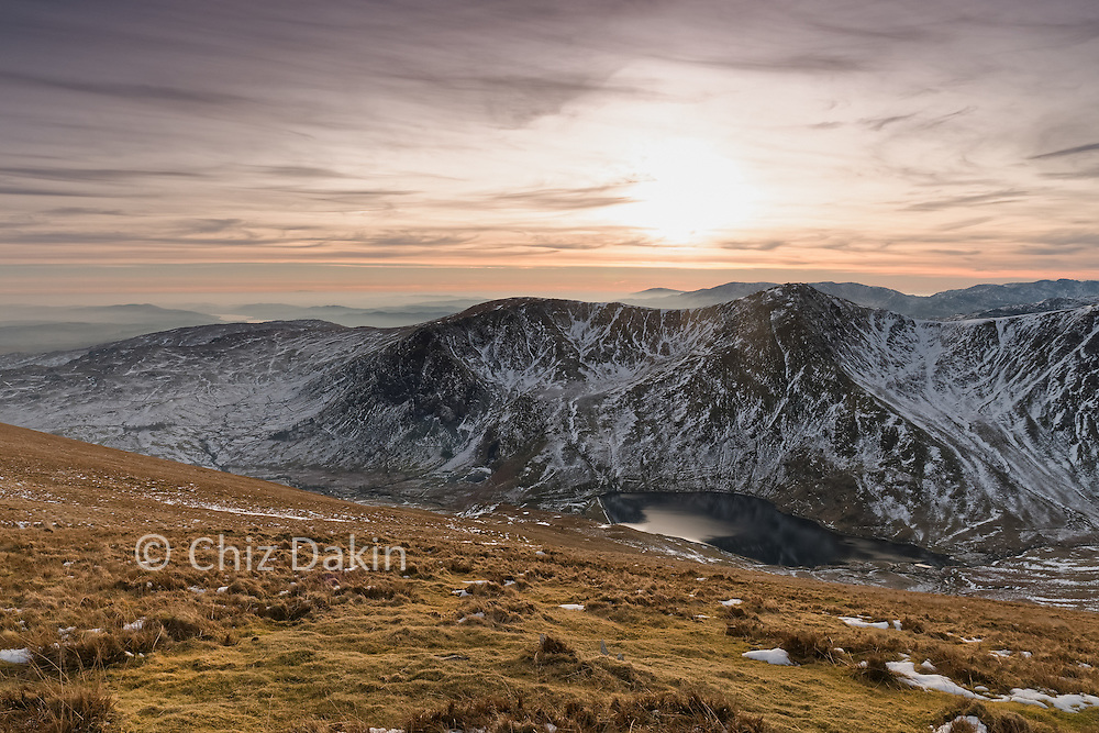 Winter sunset over Ill Bell from Kentmere Pike