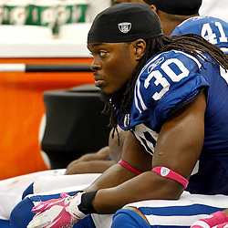 October 23, 2011; New Orleans, LA, USA; Indianapolis Colts safety David Caldwell (30) watches from the bench during the fourth quarter of a game against the New Orleans Saints at the Mercedes-Benz Superdome. The Saints defeated the Colts 62-7. Mandatory Credit: Derick E. Hingle-US PRESSWIRE / © Derick E. Hingle 2011