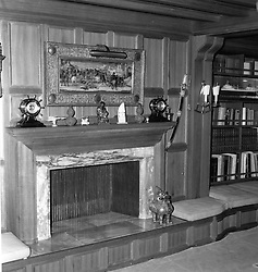 Interior shots of Aristotle Onassis's yacht Christina photographed in 1956.<br /> Picture shows fireplace in Mr Onassis' study.<br /> <br /> <br /> NON EXCLUSIVE - WORLD RIGHTS