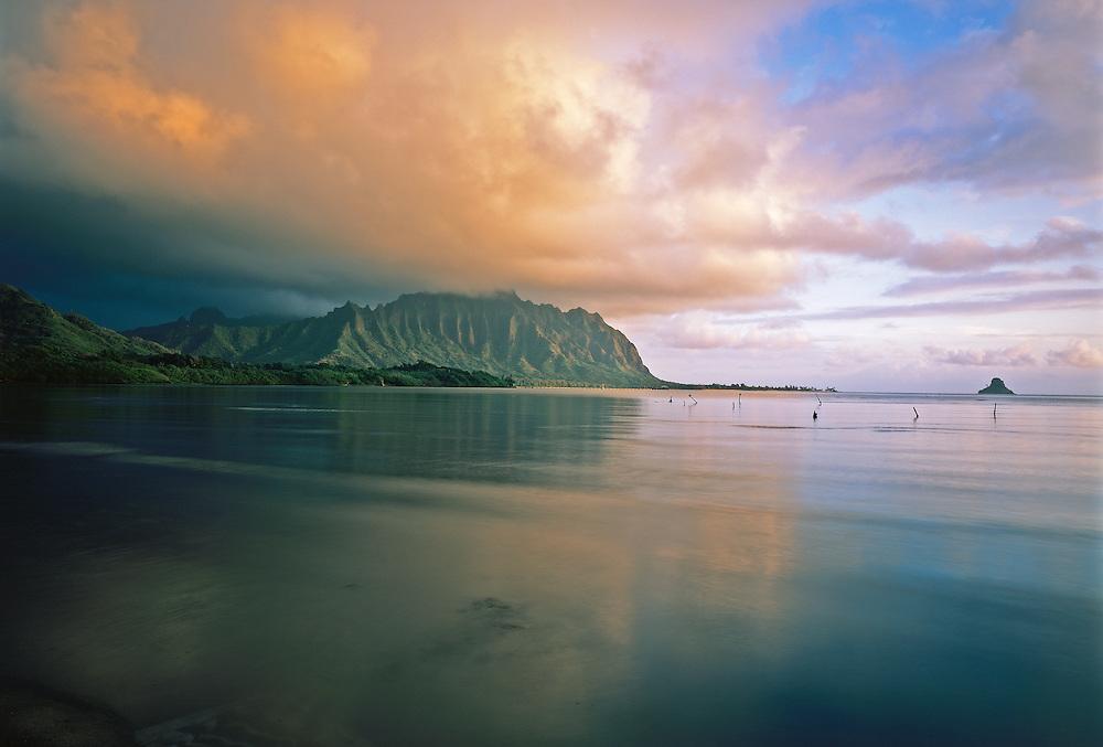 Sunrise in Waikane, Koolau Mountains at Kualoa and Mikolii Island in the distance