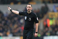 Match referee Chris Kavanagh during the Premier League match at Molineux, Wolverhampton.