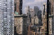 New York - mirror reflection on the Time warner tower on Colombus circle / reflet miroir sur la tour Time warner sur Colombus circle  , vue sur central park et le skyline de Manhattan  New York -